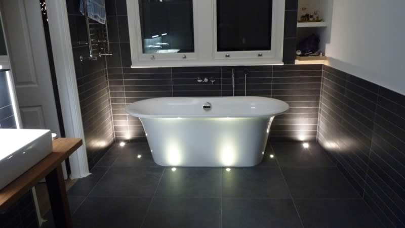 Floor lights installed in Hammersmith bathroom