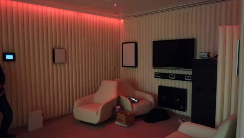 Red living room mood lighting to clients specifications