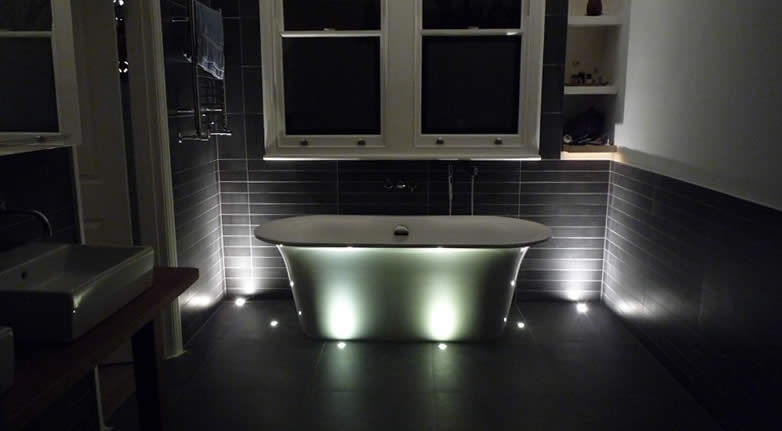 Floor and Wall bathroom lights in a private residence in Richmond